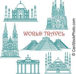 Weltreise Wahrzeichen dünne Linien Icons