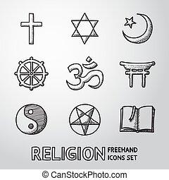 Weltreligion Hand gezeichnete Symbole. Vector
