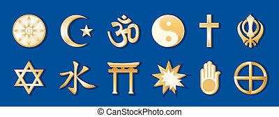 Weltreligionen, blauer Hintergrund