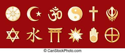 Weltreligionen, roter Hintergrund