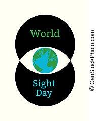 Weltsichtstag. Konzept eines Gesundheitsurlaubs. Symbolisches Bild des Auges. Iris ist der Planet Erde. Zwei Kreise bilden das Auge