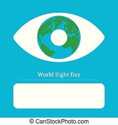 Weltsichtstag. Konzept eines Gesundheitsurlaubs. Symbolisches Bild des Auges. Iris ist der Planet Erde. Platz für Text