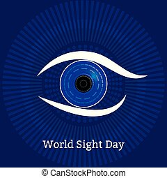 Weltsichtstag. Konzept eines Gesundheitsurlaubs. Symbolisches Bild des Auges. Technologische Texturen - Computerdiagnostik von Krankheiten
