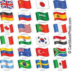 Weltspitze Länder vektorieren nationale Flaggen