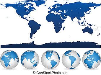 Weltumrisse und Globen