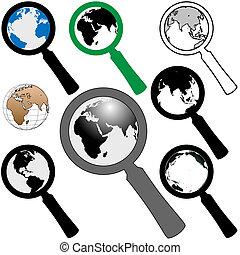 Weltvergrößerungsglas-Ikone, um Erde zu finden