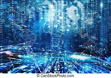 weltweit, begriff, vernetzung, internet