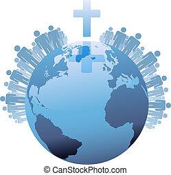 Weltweite christliche Bevölkerungsschichten unter dem Kreuz