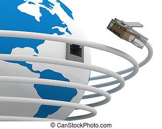Weltweite Kommunikation. 3D Bild.