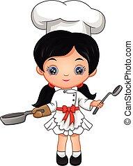 wenig, karikatur, m�dchen, küchenchef