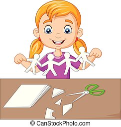 wenig, leute, papier machen, m�dchen, karikatur