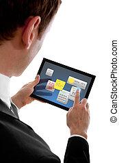 wenig, programms, widget, touchpad, pc, besitz, geschäftsmann, gebrauchend