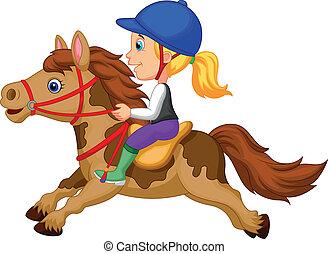 wenig, reiten, m�dchen, pony, karikatur, h