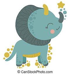 wenig, schauen, dino, character., star., vector., karikatur, dinosaurierer, triceratops, auf, freigestellt, reizend