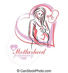 werbung, illustration., mutterschaft, klinikum, schwanger, elegant, flieger, frau, sketchy, koerper, vektor, silhouette