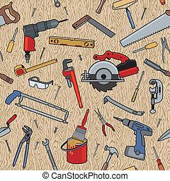 Werkzeuge auf Holzmuster