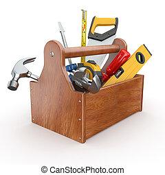 Werkzeugkasten mit Werkzeug. Skrewdriver, Hammer, Handsäge und Schraubenschlüssel