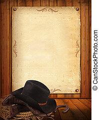 Western-Hintergrund mit Cowboy-Kleidung und altem Papier für SMS