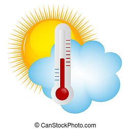 Wetter-Icons mit Sonne, Wolke und Thermometer