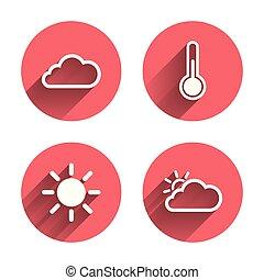 Wettersymbole. Wolke und Sonne. Temperatursymbol