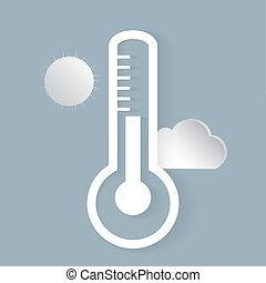Wettervorhersage Ikonen. Außenthermometer, Sonne, Wolke.