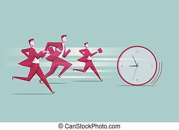 Wettrennen gegen die Zeit. Eine Gruppe hat die Uhr gejagt.