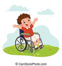 wheelchair., junge, glücklich, probleme, abbildung, vektor, concept., behinderten, gesundheit