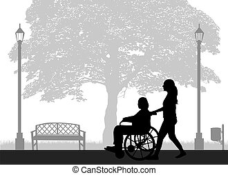 wheelchair., silhouette, frau