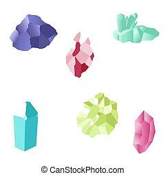 white., satz, gems., gegenstände, gefärbt, crystals., illustrations., freigestellt, vektor