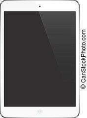 White Tablet Pad, ipad - Style Gadget Illustration, Symbole, Zeichen, Vektor.