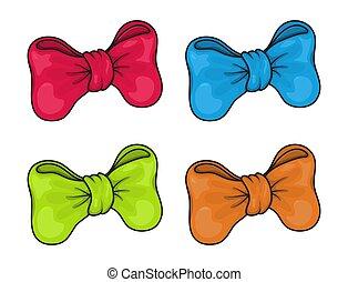 white., vektor, rotes , geschenkband, verbeugungen, ereignisse, grün, blaues, dekoration, freigestellt, satz, sammlung, farben, orange, feiertage