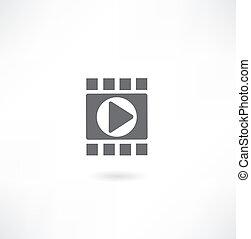 White Video-Player-Vorlage, Vektor eps10 Illustration.