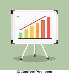 Whiteboard mit Graph.