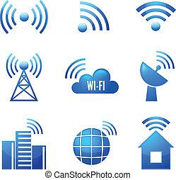 Wi-Fi Hochglanz-Icons gesetzt.