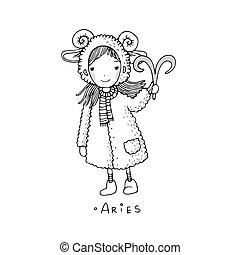 Widder. Ein süßes Mädchen in einem Pelzmantel.