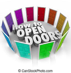 Wie öffnet man Türen Worte Chancen Zugang neue Wege.