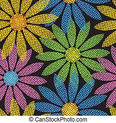 Wiederhole Halbton-Blumen-Hintergrund