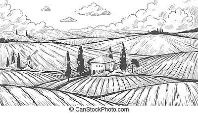 wiese, land, hand, bauernhof, engraving., landschaftsbild, ländlich, ackerland, hügel, house., skizze, landschaft, vektor, felder, gezeichnet, weinlese