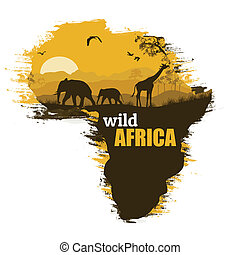 Wild Afrika hat Poster-Hintergrund, Vektor Illustration