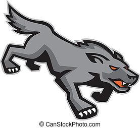 wild, pirschen, wolf, retro, hund