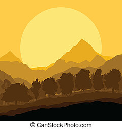Wilde Bergwälder Naturlandschaft Szene Hintergrund Illustration Vektor.