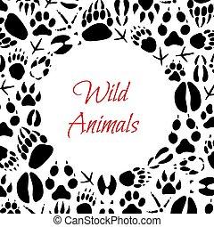 Wilde Tiere Fußabdrücke