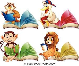 Wilde Tiere lesen Bücher.