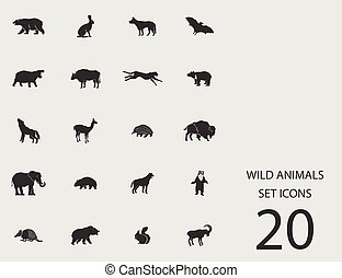 Wilde Tiere mit flachen Ikonen. Vector Illustration