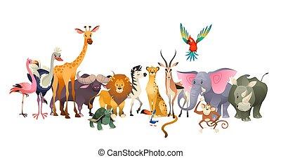 Wilde Tiere. Safari wildleben africa glückliche Tierlöwen zebra Elefanten Nashorn Papageien Giraffe Strauß Flamingo süßen Dschungel
