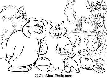 Wilde Waldtiere für Malbuch