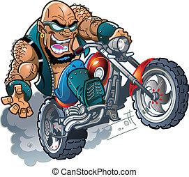 Wilder, kahlköpfiger Biker