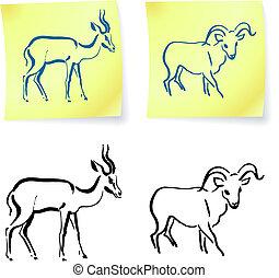Wilder Widder und Gazelle auf der Post
