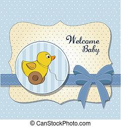 Willkommen, Babykarte mit Entenspielzeug