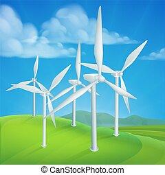 Windenergieturbinen erzeugen Strom.